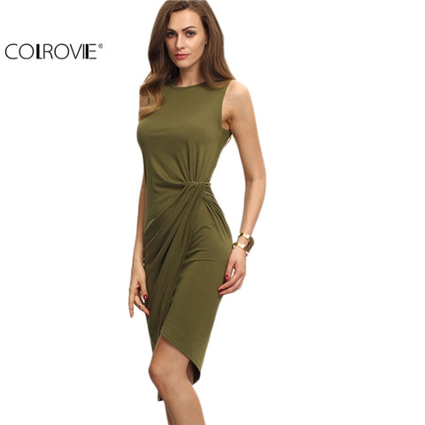 Female Army Green Sleeveless Knot Sheath Dress