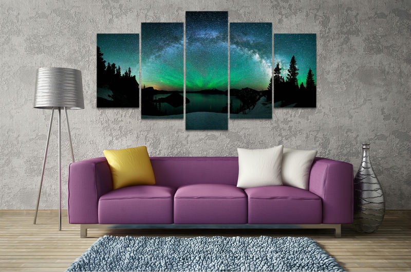 5 Pieces Beautiful Forest Aurora Borealis Canvas