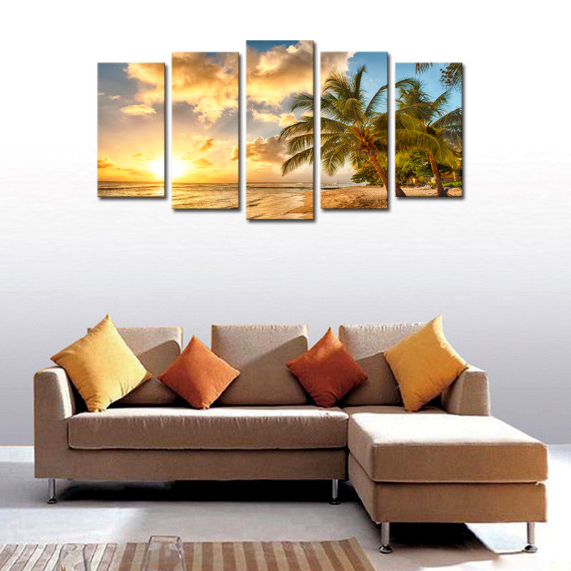 5 Piece Sunset Seascape Coco Beach Canvas