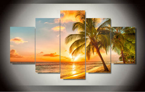 5 Piece Sunset Seascape Canvas