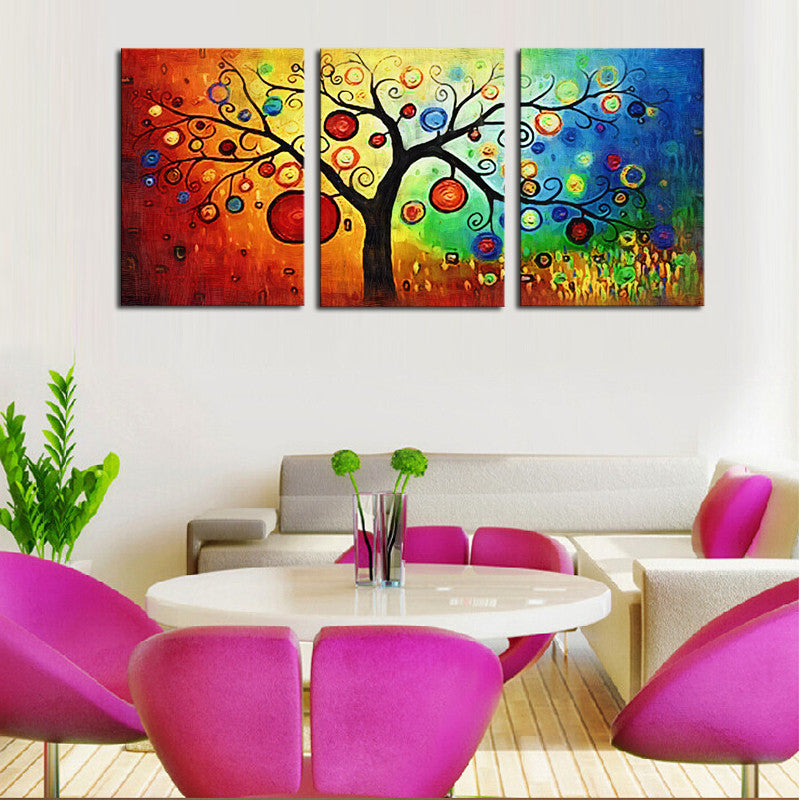 Colorful Tree Paintings for Living Room