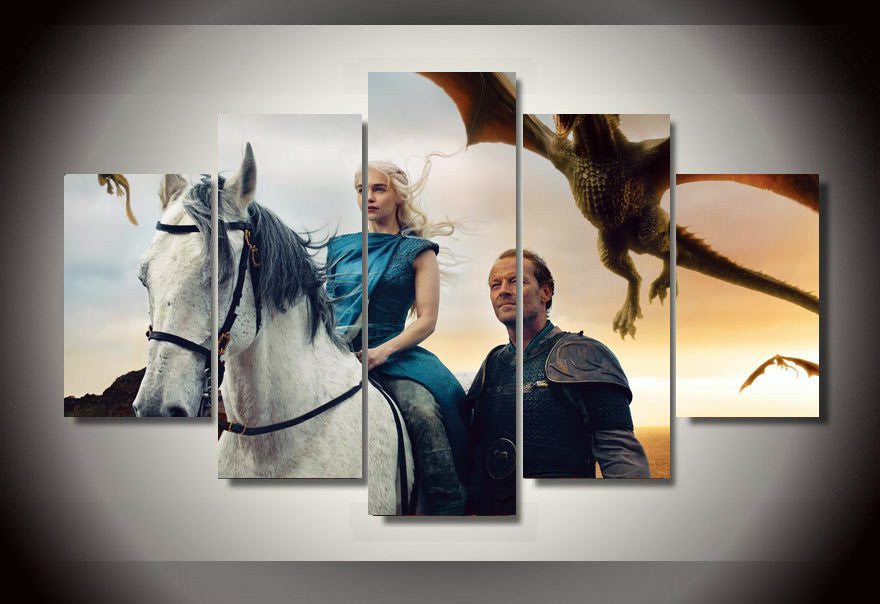 Game of thrones 5 pieces Group Painting Canvas