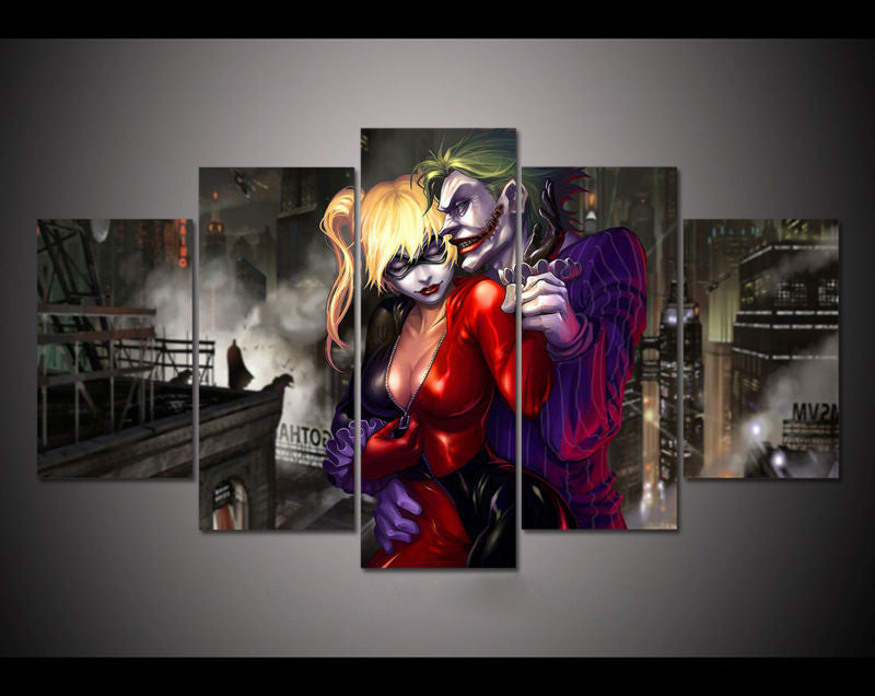 5pcs print canvas wall art joker and harley quinn painting
