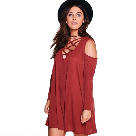 Plus Size Cirss Cross Mini Dress