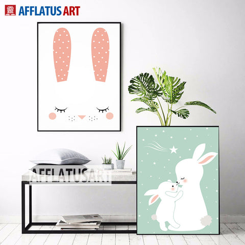 Nordic Cute Baby Rabbit Canvas Painting