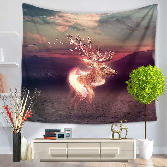 1Pcs Deer Scenery Wall Tapestry
