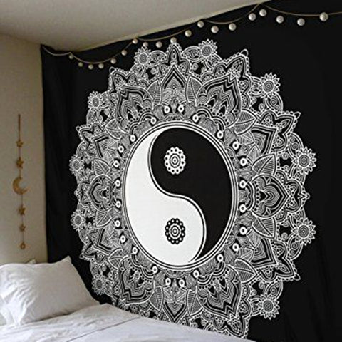 Cilected Black And White Wall Tapestry