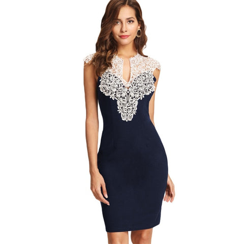Navy Floral Lace Yoke Form Fitting Dress
