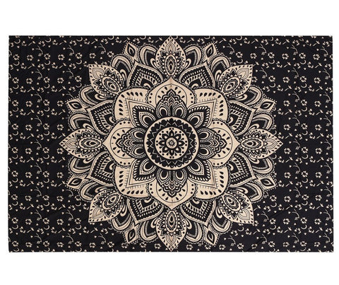 Black Brown Mandala Tapestry