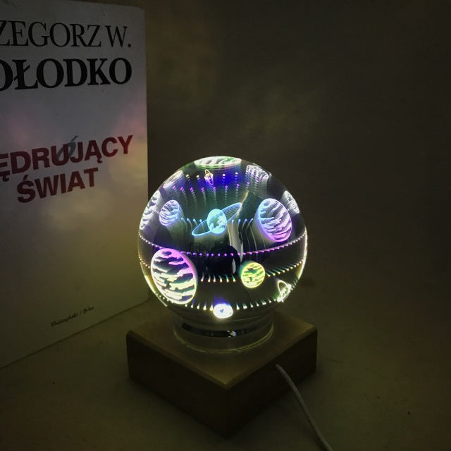 3D glass cover table lamp