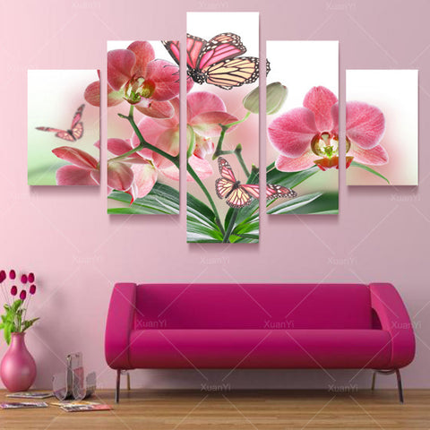 5 Panel Butterfly Flower Oil Canvas Art