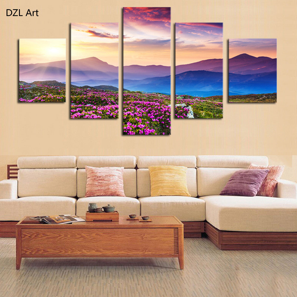 5 Piece(No Frame) The Sunset and The mountain Modern Home Wall Decor