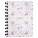Notebook Journal Girls Fairy Rainbow Design Custom Notebook Gift for Girls Diary Spiral Lined