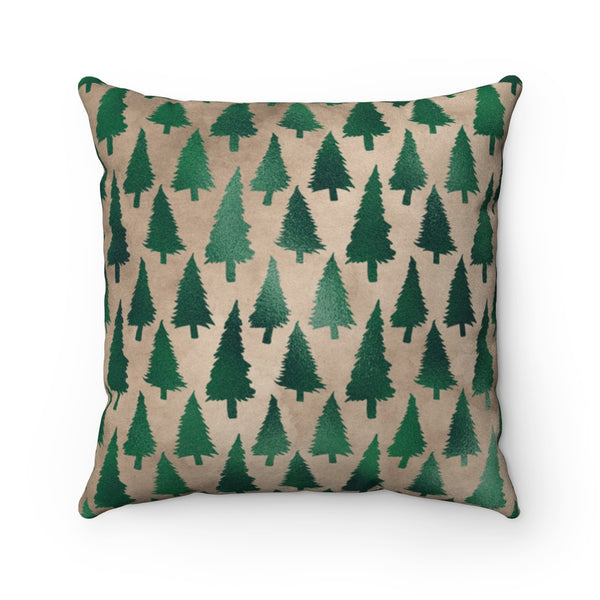 Christmas Throw Pillow Faux Suede Evergreen Print Custom Square Pillow