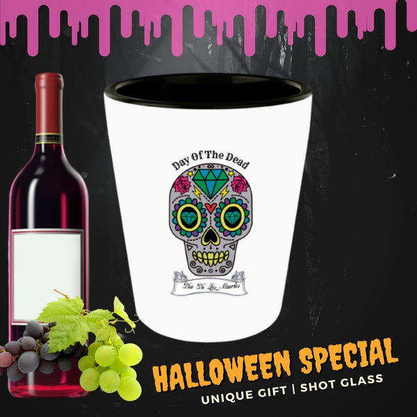 Day of the Dead Shot glass Mexican Holiday Sugar skull Halloween Gothic birthday gift party favors ceramic