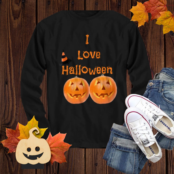 I Love Halloween Long Sleeve black t-shirt gifts for friends funny shirt with sayings and pumpkins