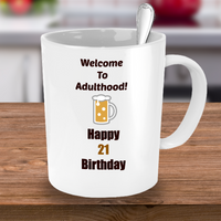 21st Birthday/ Novelty Coffee Mug/Welcome To Adulthood/Celebration Cup/Funny Mug