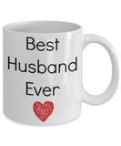 Valentine Coffee Mug-Best Husband Ever-Novelty Tea Cup Gift Anniversary Couples