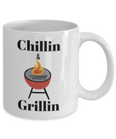 Funny coffee mug/Chillin and grillin/tea cup/gift/novelty/summer/bar-b-q/cooks/women/men/cooks