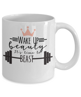 Funny Coffee Mug wake up beauty tea cup gift for her women athlete mother mug with sayings
