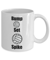 Funny Coffee Mug/Bump Set Spike Volleyball/Novelty Coffee Cup/Sports Mug For Players Fans