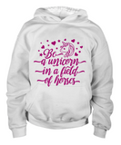 Girls white unicorn hoodie cotton youth children clothing unicorn top .