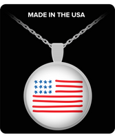 American Flag Round Silver Pendant Necklace - Patriotic Jewelry For Women