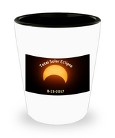 Solar Eclipse 2017/ Novelty Shot Glass /White Ceramic Shot Glass/Eclipse Shooter