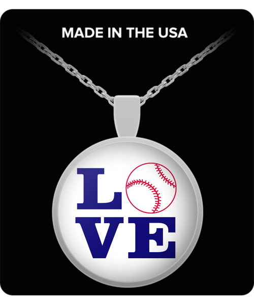 Silver baseball pendant necklace jewelry gift for women birthday sports fan