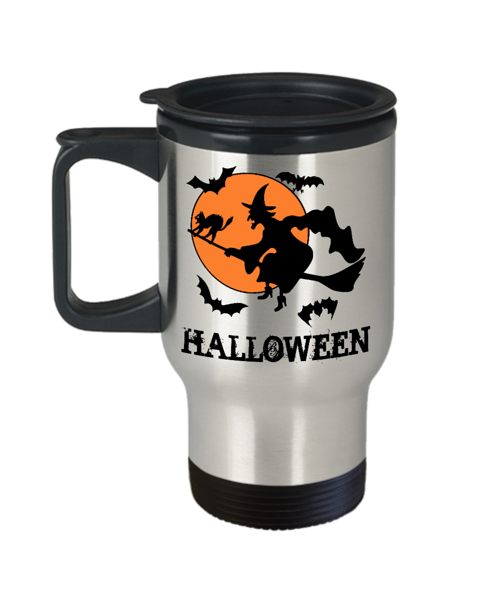 halloween witch travel coffee mug cup stainless steel holiday gifts ha