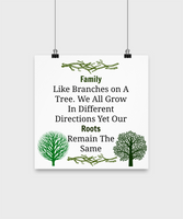 Family Like Branches On A Tree We All Grow In Different Directions Our Roots Remain The Same/Poster