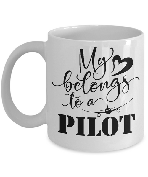 My heart belongs to a pilot funny coffee mug tea cup gift novelty