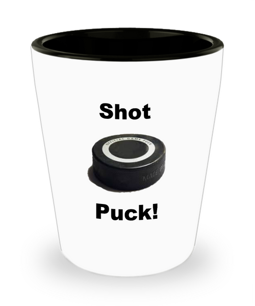 Hockey Shot Glass/Shot Puck/White Ceramic Funny Hockey Lovers/Cool