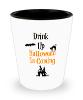 Halloween shot glass Drink up Gothic Funny party favor holiday birthday gifts hostess gift ceramic