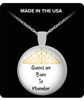 Birthday Necklace Pendant-Queens Are Born In November-Silver-horoscope-zodiac jewelry