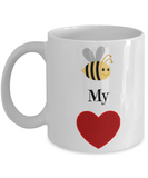 Valentine Coffee Mug-Bee My Valentine-Tea Cup Gift Funny Coupes Pictured