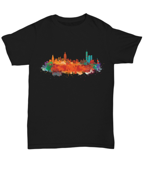 New York skyline watercolor  Black t-shirts