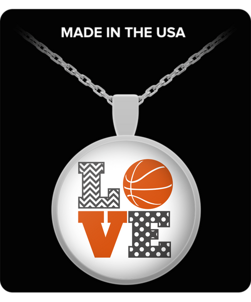 Silver basketball pendant necklace gift for women birthday jewelry gift sports fan gift