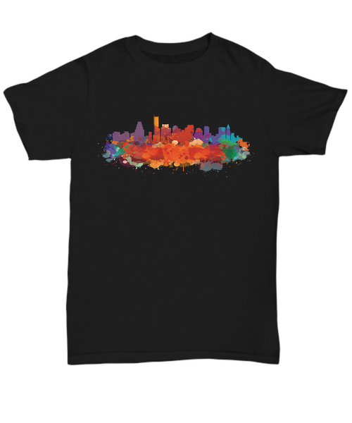 Boston skyline watercolor black t-shirt