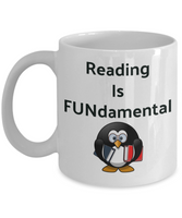 Novelty Coffee Mug-Reading Is Fundamental-Penguin Funny Tea Cup Gift Mug With Sayings Office Friends