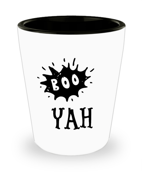Halloween shot glass Funny party favor ceramic Boo Yah!