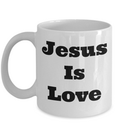 Jesus is love coffee mug
