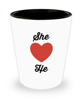 Novelty Shot Glass/She Loves He/Gift Celebration Couples
