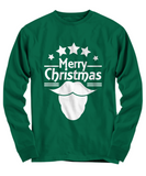 Merry Christmas Novelty Green Long Sleeve T-Shirt Cool Santa Beard Funny