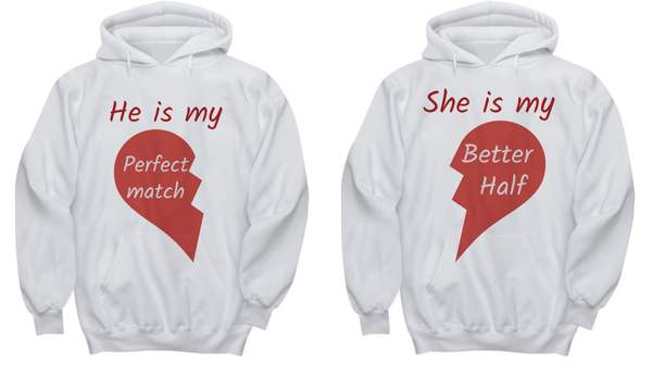 Couples Valentine Hoodie His and Hers Hoodie  Valentine's gift for Him Her