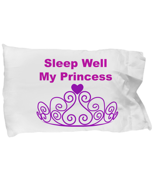 Sleep Well My Princess/ White Pillow Case/ Custom Made Gifts For Girls/ Birthday/Holiday Cotton