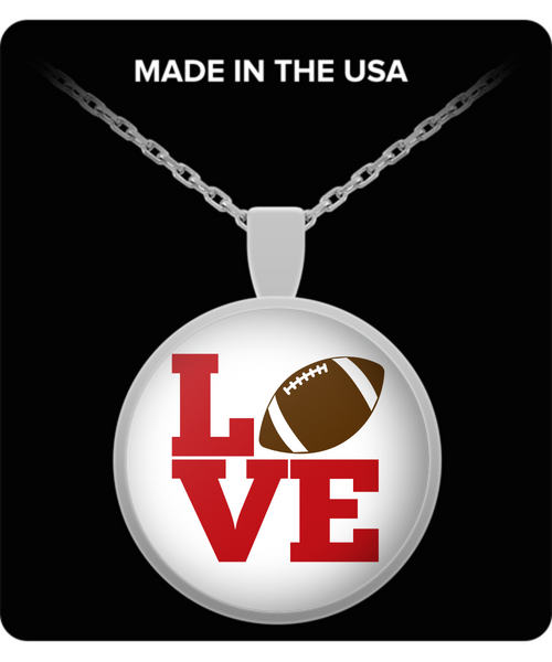 Silver football pendant necklace gift for women birthday jewelry gift sports fan gift
