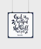 Christian quote-God is within her she will not fall-wall home decor-art-Bible-inspirational-poster