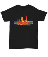 New York skyline  Black watercolor t-shirts