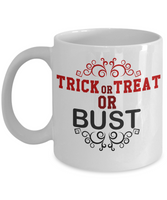 Novelty Coffee Mug/ Halloween/Trick Or Treat Or Bust/Coffee Cups Holiday Gifts